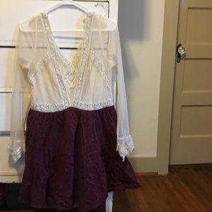 Free People 12 Victorian Dress Maroon & Cream