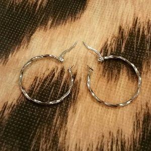 NWOT Stainless Steel Twisted Hoop Earrings