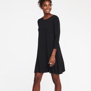 Black Three Quarter Sleeve Flare Dress