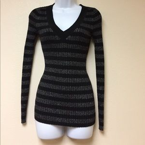 Express Black and Silver Metallic Sweater