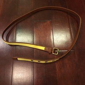 Women's Brown Yellow ribbon gold buckle belt