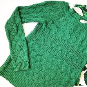 Sparrow Anthropologie Green Cable Knit Sweater