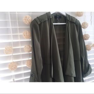 Olive Green Open Front Jacket