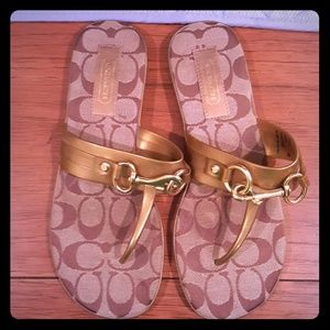 Coach Signature Gold Sandals Size 7