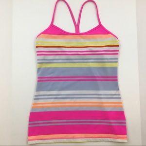Lululemon Athletica Pink Stripe Power Y Tank Top