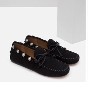 ZARA STUDDED LEATHER LOAFERS