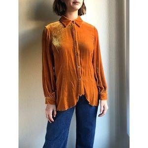 Vintage✨silk blend velvet orange button up