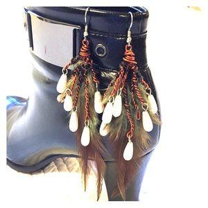 Handmade Chandelier Feather Wire Dangle Earrings