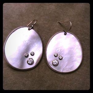 Silpada Mother of Pearl Earrings w Cubic Zirconia