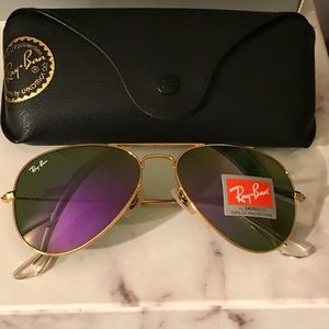 Purple and gold ray ban aviator sunglasses size 58