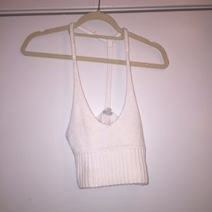 Urban Outfitters white knit croptop