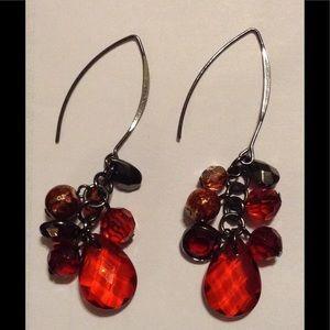 Red Dangle Bead Earrings