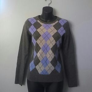TWEEDS 2 ply cashmere GRAY/BLUE argyle SWEATER