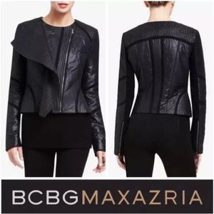 BCBG Dylan ruffle front quilted moto bomber jacket