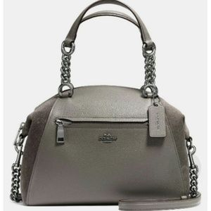 COACH Mixed Leather Chain Praire Satchel
