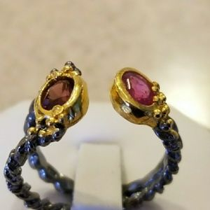 Genuine Ruby & Mozambique Garnet Designer Ring Siz