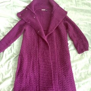 Beautiful plum sweater coat