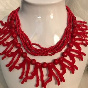 Red Coral Lightweight Beaded Necklace
