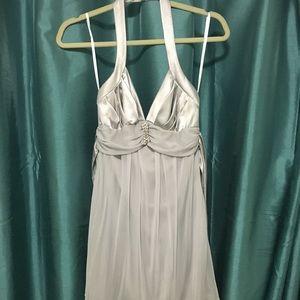 Silver Halter Sheer Elegant Dress