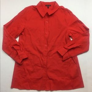 Eileen Fisher Red Linen Button-Down