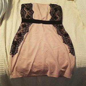 Black and light pink dress