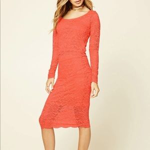 Floral Lace Top and Skirt Set In Coral