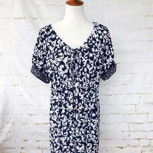 Just My Size Navy Blue & White Plus Dress 2X