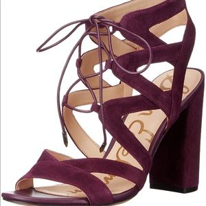 NEW Sam Edelman Wine Suede Yardley Wrap Heels