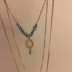Aqua and gold long layered necklace