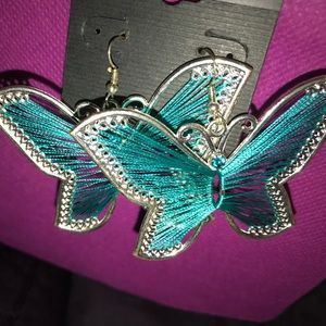Beautiful silver blue butterfly earrings new