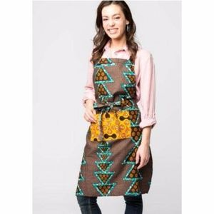 African Handcrafted Apron - Aqua Triangles
