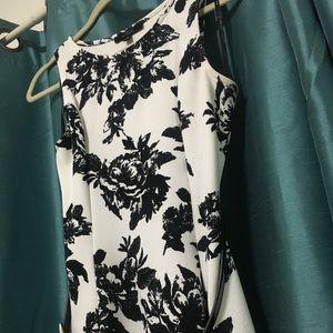 Black and White Elegant Floral Fit & Flare Dress