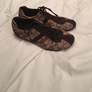 Brown Coach Katelyn Sneakers, size 8.5.
