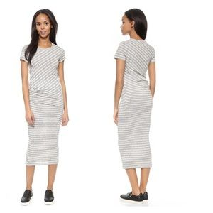 James perse striped tuck tee maxi dress size 2