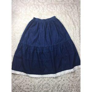 High Waist Denim Midi Skirt with Lace Trim
