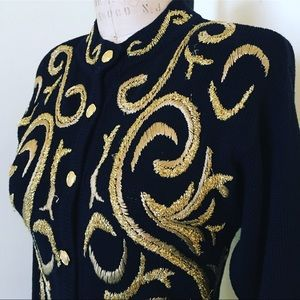 Vintage Black Cardigan With Gold Embroidery