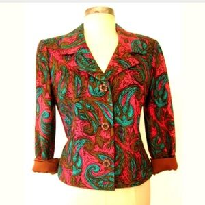 60s 1960s Vintage Colorful Tapestry Blazer Jacket