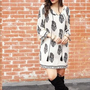 White Long Sleeve Floral Feather Print Dress