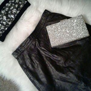 Vtg 5/6 Genuine Black Leather Midi Skirt