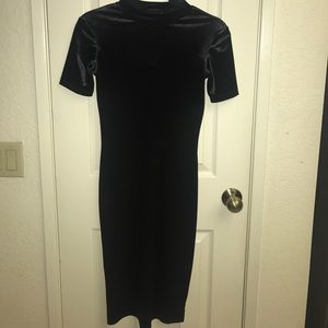 Black velvet suede dress