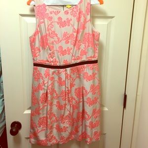 Loft silk blend dress-neon pink pattern!