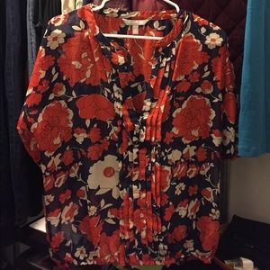 Banana Republic Floral Fall Blouse Top