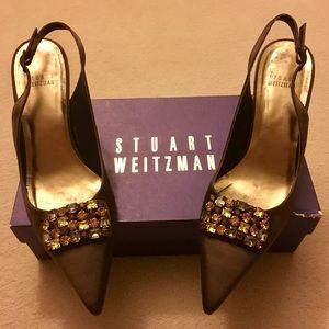 Stuart Weitzman Brown Satin and Swarovski Heels