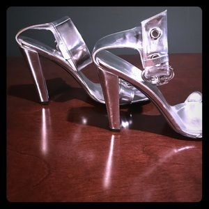 Authentic silver Gucci sandal chunk heel