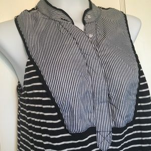 Little Yellow Button Anthro striped top