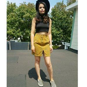 90s Mustard Floral Vintage Denim Skirt