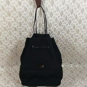 Authentic Gucci Black Canvas String Small Satchel.