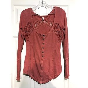 Free People Lace Crochet Henley Sz Small Red