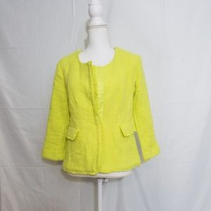 New York & Company Yellow Fringe Blazer