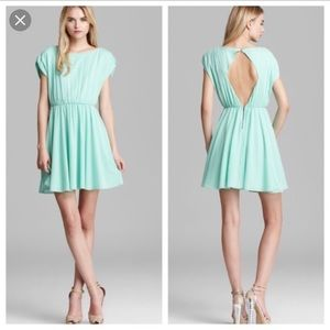 Alice + Olivia Seafoam Keyhole Back Mini Dress